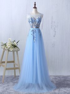 Pretty Appliques Vestidos de Damas Light Blue Side Zipper Sleeveless Floor Length