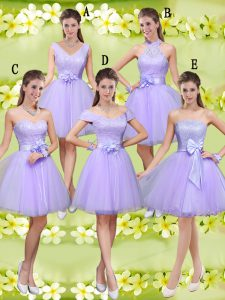 Custom Design Lilac Sleeveless Tulle Lace Up Damas Dress for Prom and Party