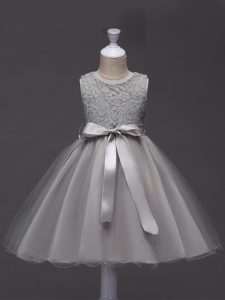 Grey Ball Gowns Scoop Sleeveless Tulle Knee Length Zipper Lace and Belt Pageant Gowns For Girls