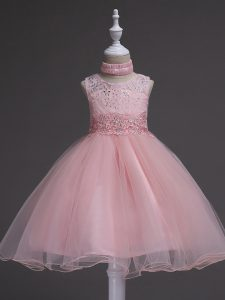 Baby Pink Organza Zipper Scoop Sleeveless Knee Length Little Girl Pageant Gowns Beading and Lace