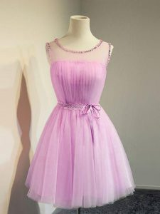 Colorful Tulle Sleeveless Knee Length Quinceanera Court Dresses and Belt