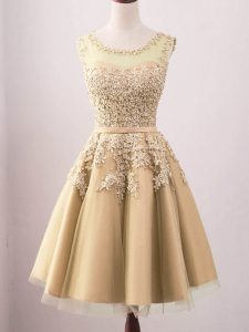 Dazzling Lace Dama Dress Gold Lace Up Sleeveless Knee Length
