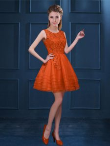 Sophisticated Orange Red Tulle Zipper Scoop Sleeveless Knee Length Dama Dress for Quinceanera Lace and Ruffled Layers