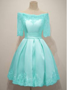 Graceful Taffeta Half Sleeves Knee Length Court Dresses for Sweet 16 and Lace