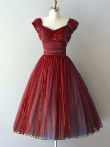 Graceful Rust Red Lace Up V-neck Ruching Quinceanera Dama Dress Chiffon Cap Sleeves