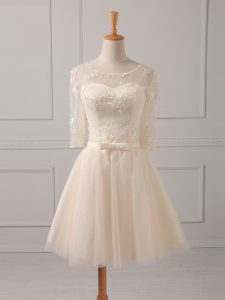 Glorious Champagne Dama Dress for Quinceanera Prom and Party and Wedding Party with Lace and Belt Scoop Half Sleeves Lace Up