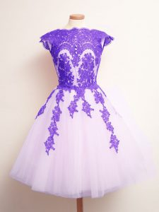 Dynamic Multi-color Dama Dress Prom and Party and Wedding Party with Appliques Scalloped Sleeveless Lace Up
