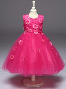 On Sale Hot Pink Sleeveless Tulle Zipper Little Girls Pageant Dress for Wedding Party