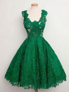 Perfect Green Zipper Court Dresses for Sweet 16 Lace Sleeveless Knee Length