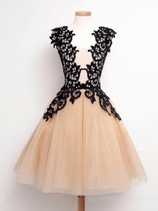 Designer Knee Length Lace Up Quinceanera Dama Dress Champagne for Prom and Party and Wedding Party with Lace
