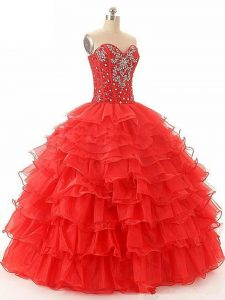Red Lace Up Sweetheart Beading and Ruffled Layers Ball Gown Prom Dress Organza Sleeveless