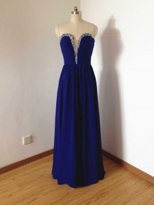Fashionable Royal Blue Side Zipper Court Dresses for Sweet 16 Beading Sleeveless Floor Length