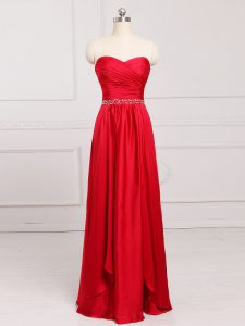 Fashionable Red Sleeveless Taffeta Zipper Damas Dress for Prom and Party and Wedding Party