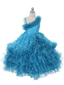 Custom Fit Teal Little Girl Pageant Gowns Wedding Party with Lace and Ruffles and Ruffled Layers Asymmetric Sleeveless Lace Up