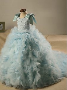 Stylish Light Blue Sleeveless Brush Train Beading and Ruffles and Bowknot Girls Pageant Dresses