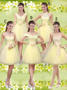 Beauteous Knee Length Light Yellow Dama Dress for Quinceanera Tulle Sleeveless Lace and Belt