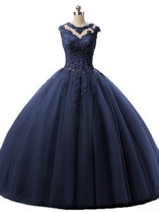Navy Blue Tulle Lace Up Scoop Sleeveless Floor Length 15th Birthday Dress Beading and Lace
