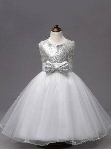 Tulle Scoop Sleeveless Zipper Sequins and Bowknot Pageant Gowns For Girls in White