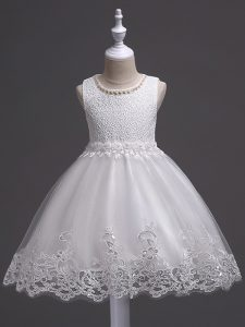 Scoop Sleeveless Pageant Gowns For Girls Knee Length Lace White Tulle