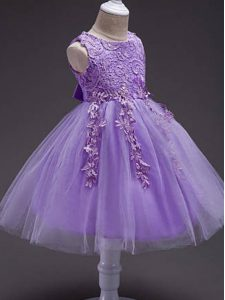 Scoop Sleeveless Kids Formal Wear Knee Length Lace and Belt Lavender Tulle