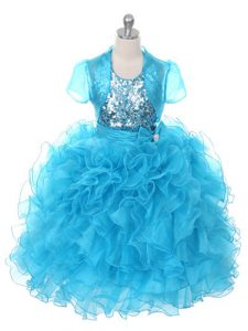 Hot Sale Scoop Sleeveless Child Pageant Dress Floor Length Ruffles and Sequins and Bowknot Baby Blue Organza