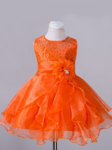 Orange Red Sleeveless Knee Length Beading and Hand Made Flower Zipper Little Girl Pageant Dress