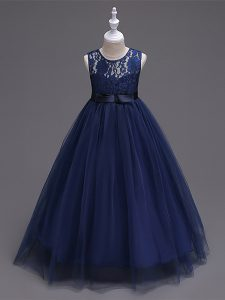 Navy Blue Sleeveless Lace Floor Length Little Girls Pageant Dress Wholesale