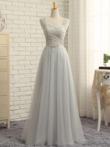 Tulle Sleeveless Floor Length Vestidos de Damas Sweep Train and Lace