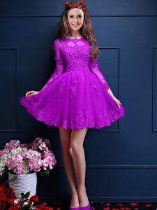 Chiffon Scalloped 3 4 Length Sleeve Lace Up Beading and Lace and Appliques Quinceanera Court of Honor Dress in Eggplant Purple