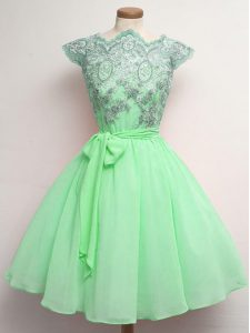 Captivating Apple Green A-line Lace and Belt Quinceanera Dama Dress Lace Up Chiffon Cap Sleeves Knee Length