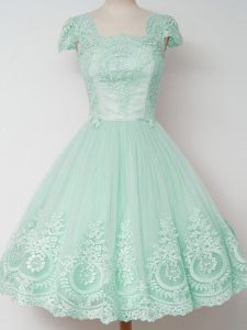 Charming Apple Green A-line Lace Quinceanera Court of Honor Dress Zipper Tulle Cap Sleeves Knee Length