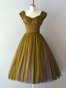 Gorgeous Olive Green A-line Chiffon V-neck Cap Sleeves Ruching Knee Length Lace Up Damas Dress