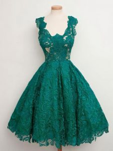 Colorful Straps Sleeveless Lace Up Quinceanera Court of Honor Dress Dark Green Lace