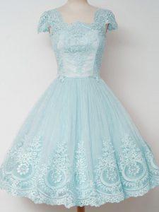 Flirting Aqua Blue Tulle Zipper Quinceanera Dama Dress Cap Sleeves Knee Length Lace