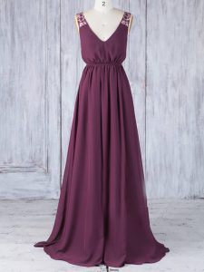 Ideal Burgundy Empire Appliques Damas Dress Backless Chiffon Sleeveless Floor Length