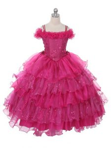 Fuchsia Organza Lace Up Off The Shoulder Sleeveless Floor Length Kids Formal Wear Ruffles and Ruffled Layers