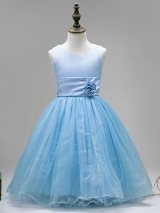 Hot Selling Scoop Sleeveless Zipper Little Girl Pageant Dress Baby Blue Tulle