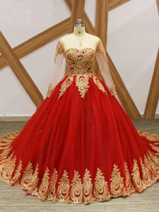 Fashion Long Sleeves Court Train Lace Up Beading and Appliques Ball Gown Prom Dress