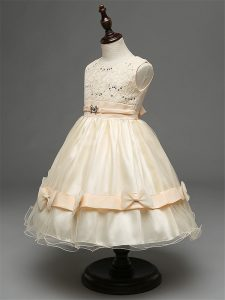 Stylish Knee Length Champagne Child Pageant Dress Tulle Sleeveless Lace and Bowknot