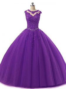 Dark Purple Tulle Lace Up Scoop Sleeveless Floor Length Sweet 16 Dresses Beading and Lace