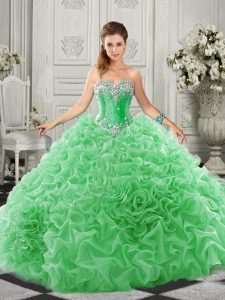 Beading and Ruffles Sweet 16 Quinceanera Dress Green Lace Up Sleeveless Court Train