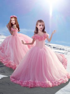 Elegant Hand Made Flower Child Pageant Dress Baby Pink Lace Up Sleeveless Court Train