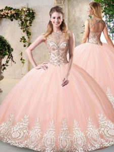 Fitting Peach 15th Birthday Dress Prom and Party and Military Ball and Sweet 16 and Quinceanera with Beading and Appliques Scoop Sleeveless Backless