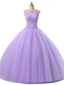 Modest Lavender Sleeveless Beading and Lace Floor Length 15th Birthday Dress