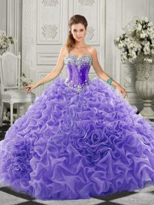 Sweetheart Sleeveless Organza Quinceanera Gowns Beading and Ruffles Court Train Lace Up