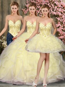 Light Yellow Lace Up Sweetheart Beading and Ruffles Quinceanera Gowns Tulle Sleeveless