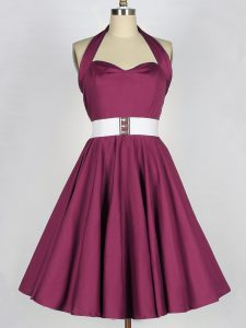 Adorable Knee Length Lace Up Dama Dress Burgundy for Prom and Party and Wedding Party with Belt