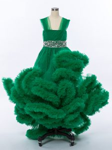 High Low Lace Up Kids Pageant Dress Dark Green for Wedding Party with Beading and Hand Made Flower