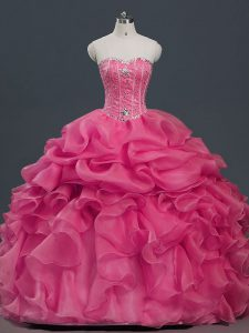 Pretty Beading and Ruffles and Pick Ups 15th Birthday Dress Hot Pink Lace Up Sleeveless Floor Length