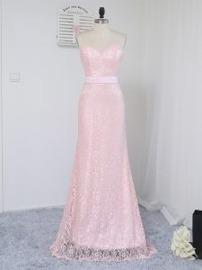Beauteous Floor Length Zipper Quinceanera Court Dresses Baby Pink for Prom and Party and Wedding Party with Lace